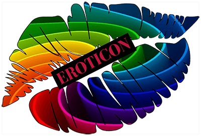 Eroticon colourful lips logo.