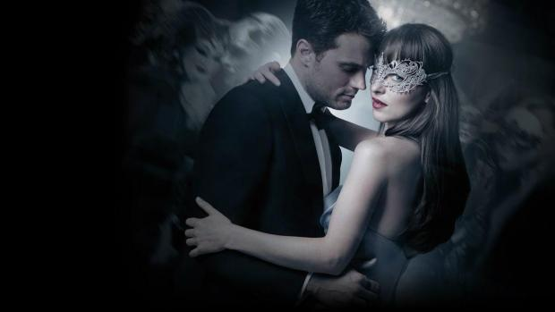 Christian Grey, and Anastasia in formal clothes from Fifty Shades Darker.